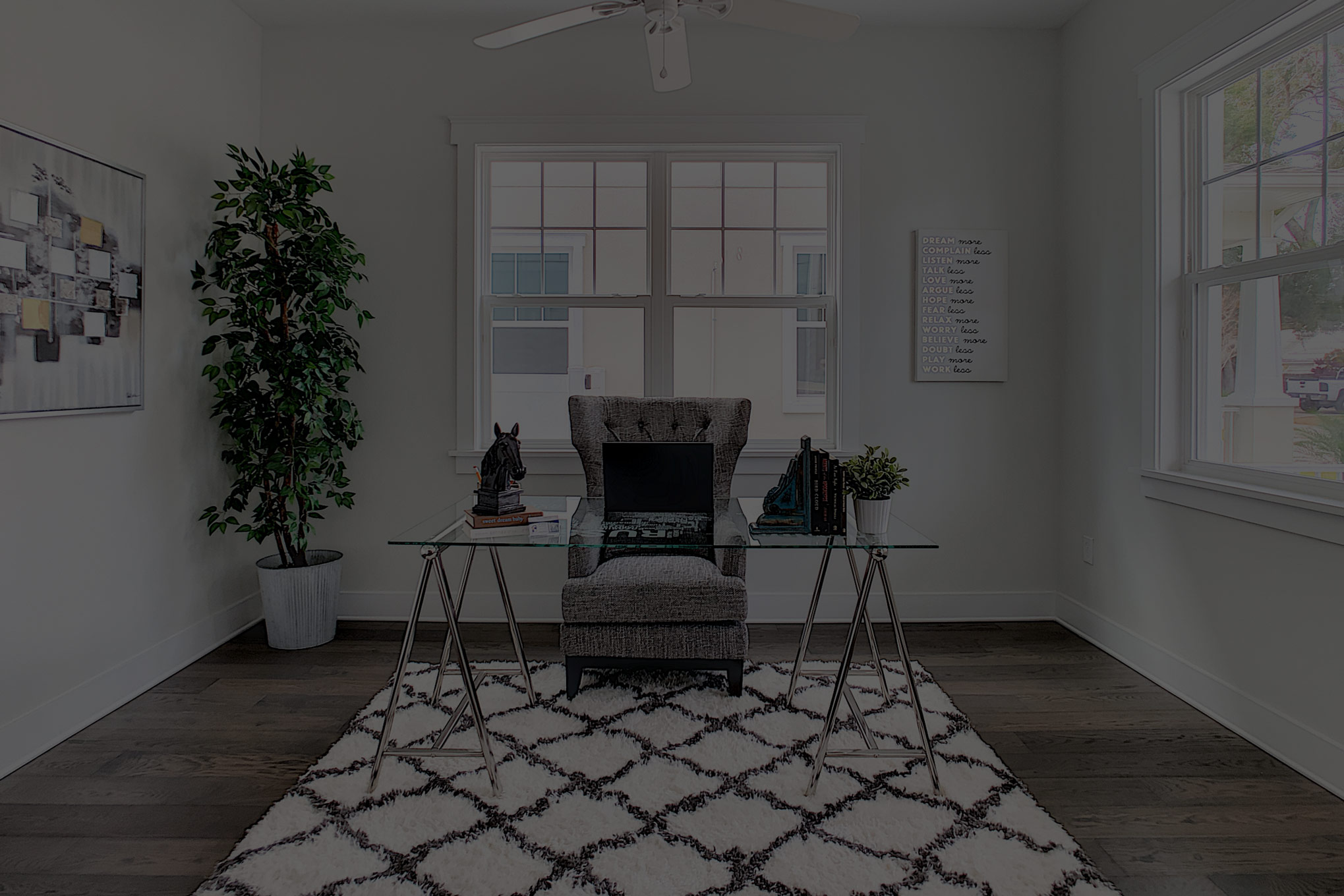 Black and White Staged Office